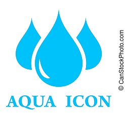 aqua icon - blue three pure drop silhouette for aqua icon