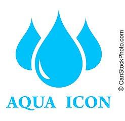 aqua icon - blue three pure drop silhouette for aqua icon