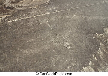 nasca-hummingbird - drawing in the Nazca Desert, view from...