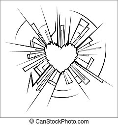 Broken glass and heart - Vector illustration - Broken glass...