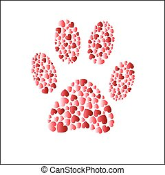 Cat step with hearts - Vector illustration - Cat step symbol...