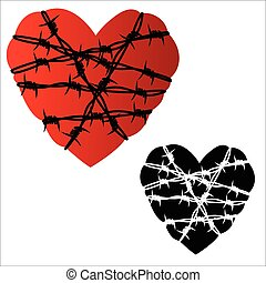 Heart in barbed wire - Vector illustration - Heart in barbed...