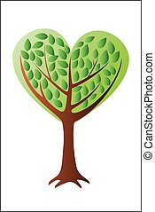 Heart tree with leafs - Vector illustration - Heart tree...