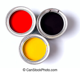 Germany Flag Paint - banks of paint on white background view...