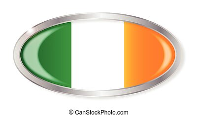 Irish Flag Oval Button - Oval silver button with the Irish...