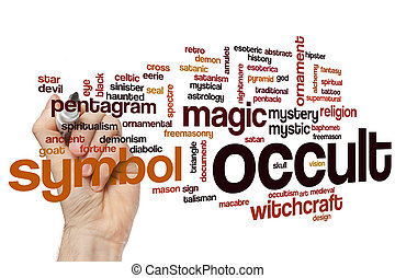 Occult word cloud concept with magic mystic related tags