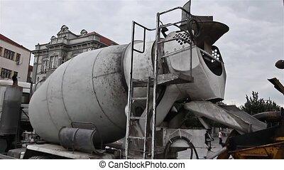Cement mixer truck.