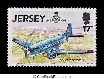 dakota DC-3 - JERSEY mail stamp celebrating 75 years of the...