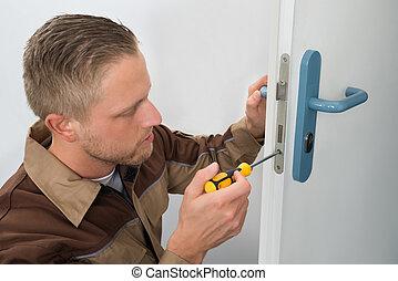 charpentier, réparation, porte, serrure,