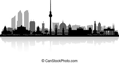 Berlin Germany city skyline silhouette - Berlin Germany city...