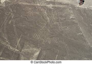 nasca-tree - drawing in the Nazca Desert, view from airplane...