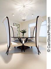 Round table in dining room
