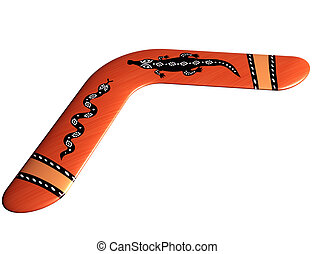Aboriginal boomerang - Isolated illustration of a handmade...
