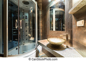 Designer bathroom in contemporary house - Interior of...