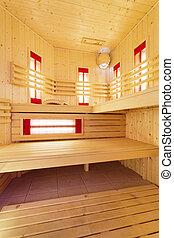 Modern Finnish sauna interior - Vertical view of modern...