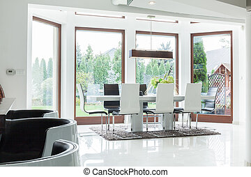 Dining room for big family - Interior of dining room for big...