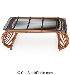 Rattan table with glass top 3d graphics