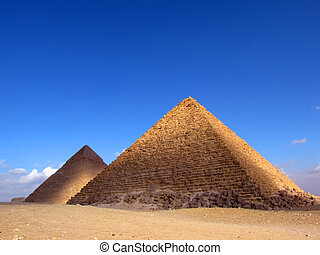 Two pyramid in Giza (Egypt) - Pyramid of Khafre (or...