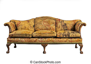 sofa with tapestry upholstery old and original antique -...