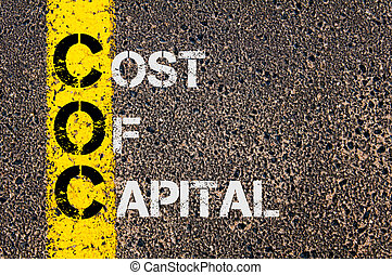 Business Acronym COC as Cost Of Capital - Concept image of...