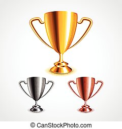 Golden, silver and bronze trophy cups vector set