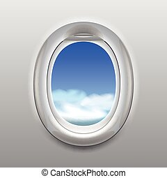 Sky in aircraft window vector background - Sky with clouds...