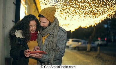 Romantic Evening - Close up of couple having fun with their...