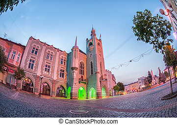 Evening view of the town hall Mukachevo - Night panorama of...