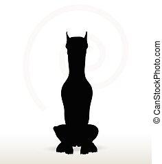 perro, silueta, en, Sentado, postura,