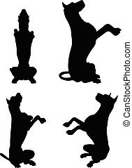 dog silhouette in beg pose - Vector Image - dog silhouette...