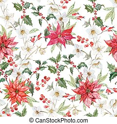 Watercolor christmas pattern - Beautiful vector pattern with...