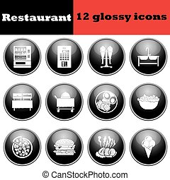Set of glossy restaurant icons EPS 10 vector illustration
