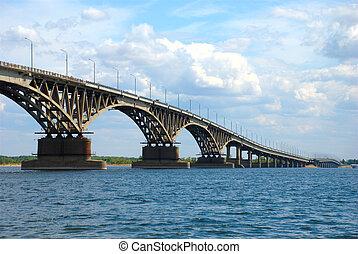 Road bridge in Saratov - Road bridge over the Volga River in...