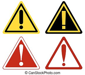 vector warning attention signs