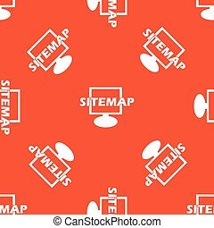 Orange sitemap pattern - Text SITEMAP in front of monitor,...