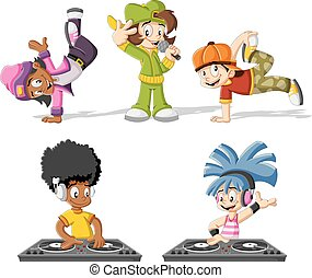 Cartoon hip hop dancers with a singer and a dj playing music...