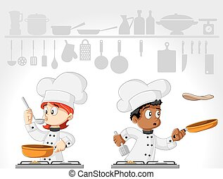 Cartoon chefs cooking gourmet food on white kitchen
