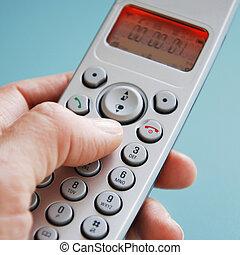 mano, el marcar, teléfono, frente, verde, Plano de...