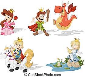 Cartoon princesses and princes with dragon and frog