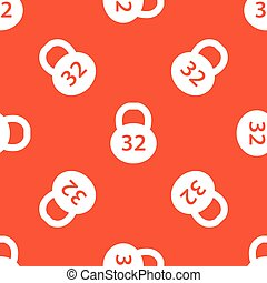 Orange dumbbell pattern - Image of 32 kg dumbbell, repeated...