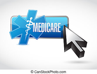 Medicare button technology sign concept illustration design...