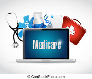 Medicare health technology sign concept illustration design...