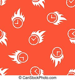 Orange burning time pattern - Image of burning clock,...