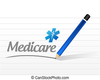 Medicare message sign illustration design over white
