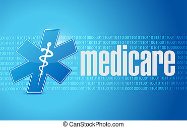 Medicare binary sign illustration design over blue