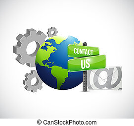 industrial gear contact us mail sign illustration design...