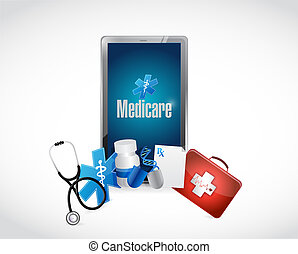 Medicare medical technology sign illustration design over...