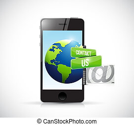 contact us mail phone sign illustration design over white