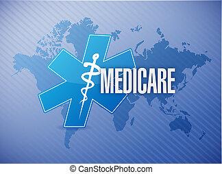 Medicare world map sign illustration design over blue