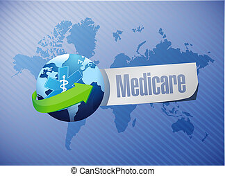 Medicare international sign illustration design over blue